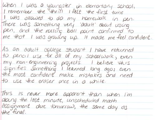 Handwritten blog entry